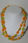 "MBA #E42-041   ""Vintage Brite Tropical Look Acrylic Bead Necklace"""
