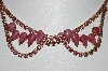 "MBA #E42-005  ""Vintage Goldtone Pink Glass & Crystal Rhinestone Fancy Choker"""
