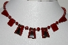 "MBA #E42-010  ""Vintage Red & Silver Lucite Necklace"""
