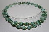 "MBA #E42-039  ""Vintage Fancy Green Glass Bead Necklace"""