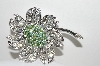 "MBA #E43-022   ""Sarah Coventry Silvertone AB & Clear Crystal Rhinestone Flower Pin"""