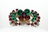 "+MBA #E43-026  ""Vintage Gold Filled Green & Purple Glass & Rhinestone Pin"""