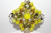 "+MBA #E43-038  ""Vintage Goldtone Yellow Glass & Rhinestone Brooch"""