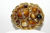 "+MBA #E43-041  ""Vintage Goldtone Brown Glass & Rhinestone Pin"""