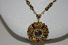 "MBA #E43-171  ""Vintage Goldtone Filigree Rhinestone & Faux Pearl Necklace"""
