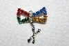 "**MBA #E43-190  ""Vintage Silvertone Multi Colored Rhinestone Pin With Attached Charm"""