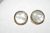 "MBA #E43-118  ""Coro Goldtone Mother Of Pearl Button Clip On Earrings"""