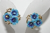 "MBA #E43-090  ""Avon Golstone Blue Enameled Flower Clip On Earrings"""