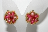 "+MBA #E43-097  ""Vintage Goldtone Shades Of Pink Acrylic Bead Earrings"""