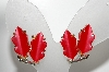 "MBA #E43-128  ""Lisner Silvertone Red Lucite Screw Back earrings"""