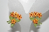 "MBA #E43-102  ""Vintage Enameled 4 Flower Clip On Earrings"""