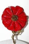 "MBA #E43-080  ""Hedy Large Goldtone Red Enameled Flower Pin"""