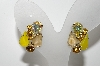 "MBA #E43-107  ""Vintage Goldtone Yellow Glass & Rhinestone Clip On Earrings"""