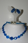 "MBA #E43-143  ""Vintage AB Blue Crystal Necklace & Matching Clip On Earrings set"""