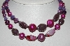 "MBA #E43-178  ""Made In Japan Purple & Pink Glass & Acrylic Bead 2 Strand Necklace"""