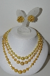 "MBA #E43-151   ""Made In Japan 3 Strand Yellow & Clear Acrylic Bead Necklace & Matching Earrings"""
