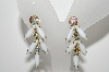 "MBA #E43-122  ""Vintage Goldtone White Milk Glass & AB Crystal Rhinestone Earrings"""