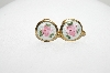 "MBA #E43-137  ""Coro Small Goldtone Enameled Rose Button Style Earring"""