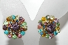 "MBA #E43-093  ""Vintage Brass Backed Multi Colored Rhinestone Clip On Earrings"""