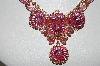 "MBA #E-43-165  ""Vintage Gold Plated Stunning Pink Glass, Crystal & Rhinestone Necklace"""
