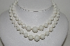 "MBA #E44-028  ""Vintage Made In Germany Double Strand White Acrylic Bead Necklace"""