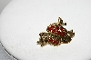 "MBA #E44-099  ""Avon Goldtone Red Crystal Rhinestone Apple Pin"""