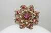 "**MBA #E44-083  ""Vintage Gold Plated Pink & Clear Crystal Rhinestone Flower Pin"""