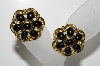 "MBA #E44-191   ""Trifari Gold Tone Black Stone Clip On Earrings"""