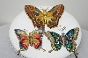 "**MBA #E44-053  ""Vintage Lot Of 3 Enameled Butterfly Pins"""