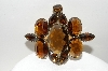 "MBA #E44-047   ""Vintage Gold Tone Brown Glass Stone Pin/Pendant Combo"""
