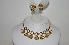 "MBA #E44-171   ""Vintage Gold Filled Clear Rhinestone Flower Petal Necklace & Earring Set"""