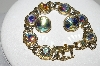 "MBA #E44-184   ""Vintage Gold Tone AB Crystal Rhinestone Bracelet & Earrings"""