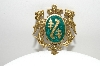 "**MBA #E44-222   ""Vintage Gold Filled Green Enameled Shield/Crest Pin"""