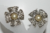 "MBA #E44-101    ""Vintage Silvertone Faux Glass Pearl & Clear Crystal Rhinestone Earrings"""