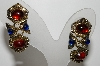 "+MBA #E44-141   ""Vintage Antiqued Gold Tone Red & Blue Stone Pierced Earrings"""