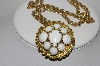 "MBA #E44-133    ""Vintage Gold Plated Wgite Milk Glass Pin/Pendant Combo With Chain"""