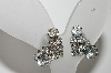 "MBA #E44-145   ""Vintage Silvertone Clear Crystal Rhinestone Clip On Earrings"""