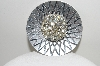 "**MBA #E44-056   ""Made In Germany Silvertone Round Crystal Rhinestone Pin"""