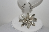 "MBA #E44-239    ""Vintage Silvertone Clear Crystal Rhinestone Pin & Earring Set"""