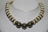 "MBA #E44-244     ""Vintage Silvertone Carved Bead Necklace"""