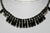 "+MBA #E45-101   ""Weiss Silvertone Black Glass & Clear Rhinestone Choker"""