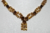 "MBA #E45-085   ""Vintage Goldtone Brown & Citrine Colored Rhinestone Necklace"""