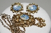 "**MBA #E45-115   ""Vintage Goldtone Hand Painted Floral Ceramic Pendant & Earring Set"""