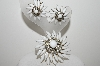 "MBA #E45-190   ""Judy Lee Goldtone White Glass & Clear Crystal Rhinestone Pin & Earring Set"""