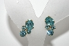 "MBA #E45-049   ""Vintage Made In Austria Gold Tone Blue Crystal Rhinestone Screw Back Earrings"""