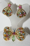 "MBA #E45-215   ""Judy Lee Goldtone Rhinestone Butterfly Pin & Earring Set"""