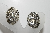 "MBA #E45-266   ""Coro Silvertone Clear Crystal Rhinestone Clip On Earrings"""