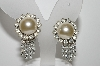 "mBA #E45-257   ""Judy Lee Silvertone Faux Pearl & Clear Rhinestone Clip On Earrings"""