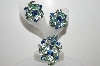 "MBA #E45-195   ""Judy Lee Silvertone Blue & Green Glass & Rhinestone Pin & Earring Set"""