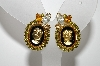"MBA #E45-011   ""Hobe Gold Tone Cameo & Rhinestone Earrings"""